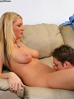 Brunette mom touches her vag in sensual solo scenes